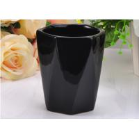 Quality Reusable Black Color Hexagon Ceramic Candle Holder For scented Candle for sale