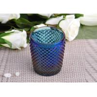 Quality Machine Made navy blue glass cylinder candle holder Embossed Cross Line for sale