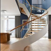 Quality Modern Wooden Steel Curved Staircase Design for sale
