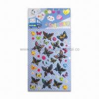 Quality 3-D Puffy Stickers in Butterfly Shape, Made of Vinyl, Sponge and Transparent PET for sale
