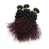Buy 8A Brazilian Virgin Hair Ombre Human Hair Extensions 1B / 99J Kinky Curly Hair at wholesale prices