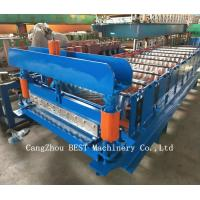 China Corrugated Roof Sheet Steel Making Roll Forming Machine Hydraulic Cutting on sale