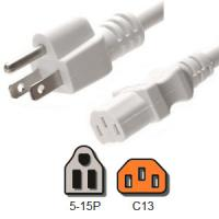 Quality White Computer Power Cord 10 Amp American NEMA 5 15P to IEC C13 18 / 3 AWG for sale