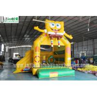 Buy cheap 3 in 1 Kids SpongeBob Inflatable Jumping Castles With Pillar N Hoop Lead Free Material from wholesalers