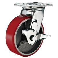 Quality Lockable Industrial Trolley PU Caster Wheel With Plate Fitting 4 Inches for sale