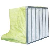Quality Fire Retardant Pocket Air Filter AHU / Yellow F8 Non Woven Material With 6 Bags for sale