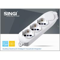 Quality Cable length 1m 1.5m 3m 3 way European extension socket with overload protector for sale