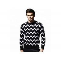 Buy cheap Round Neck Jacquard Mens Knit Sweater European Design Stripe 428g Weight from wholesalers