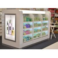 Quality Wooden Glass Shelf Cosmetic Display Case Decorated With Gorgeous Light Box for sale