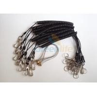 Buy Power Tool Coiled Lanyard Holders Black Steel Cable With Snap Hooks / Wire Loop at wholesale prices