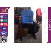 Quality Long-term Comfort No Floor Fixed Blue PP Back Conferece Hall Chairs With MDF Pad for sale