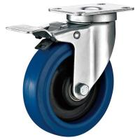 Quality Blue Elastic Rubber Industrial Caster Wheels With Barkes Customized Color for sale