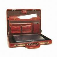 Quality Slim Leather Attache Case for 19-inch Laptops, Measures 45.4 x 32.7 x 7cm for sale