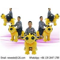 Quality Medium Size Battery Coin Operated Plush Walking Toys Stuffed Electric Animal Cars Rides for sale