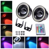 Quality Colorful DRL 89MM 30W Car LED Fog Lights With RGB COB Halo Angel Eye Rings for sale