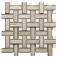 Quality Onyx White Chevron Mosaic Tile , 7 / 8mm Thick Bathroom Stone Mosaic Tile for sale