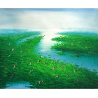Quality crystal painting group painting boat bridge wall art for sale