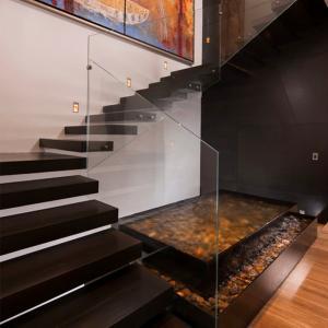 Quality Frameless Glass Railing Floating Straight Exterior Stair Design for sale