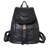 Quality Luxury Fashion Ladies Backpack Rivet Washed Leather With Weave Decoration for sale