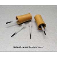 Buy empty 30ml glass nail polish bottle with  bamboo cover at wholesale prices
