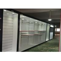 Buy Matte White Wooden Retail Clothing Fixtures Apparel Store Shelves With LED Lights at wholesale prices