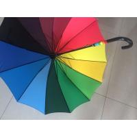 Quality Solid Stick Multi Coloured Umbrella Curved Leather Handle Pongee 190T Fabric for sale