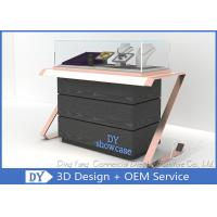 Quality Elegant Comfortable Black Rose Gold Wood Glass Sit Down Jewelry Case With Lights for sale