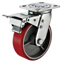 "Quality 5""X2"" Polyurethane Wheel Swivel Plate Heavy Duty trolley Wheel With Total Brake - 1000 Lbs Capacity for sale"