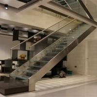 Quality First floor stairs design with double beam glass balustrade design for sale