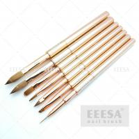 Quality Rose Gold Pure Kolinsky Acrylic Brush Customized Liner Stripping  With Cap for sale