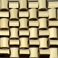 Quality Golden 3D Arched Metallic Mosaic Tiles Trim Stainless Steel Laminate Backsplash for sale
