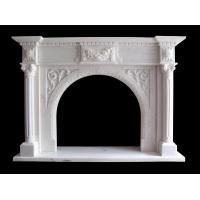 Quality Flower Sculptured Natural Stone Fireplaces Mantel China Pure Whtie Marble Material for sale