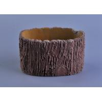 Quality 11cm Height Rough Tree Trunk Design Cement Ceramic Candle Holder for sale