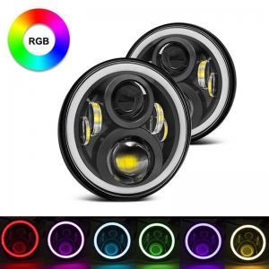 Quality 7 Inch Round RGB Halo Car Lights Bluetooth Control Headlights High / Low Beam for sale