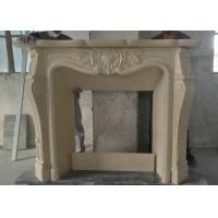 Quality Sunny Beige Marble Fireplace Surround , Carved Indoor Marble Around Fireplace for sale