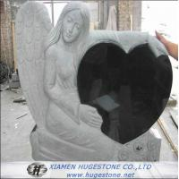 Quality Carved Angel Embrace Black Heart Shape Granite Tombstone, Shanxi Black  for sale