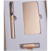 China High Quality Metal Roller Pen USD Flash Disk Pen With Stationery Gift Power Bank Set on sale