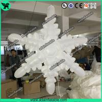 Quality 1.5m 210T Polyester Cloth White Inflatable Snowflake For Christmas Decoration for sale