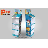 Quality 4 Tiers Blue Cardboard Floor Display Stands Glossy Lamination Coating for sale