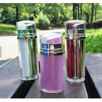 Quality customized colour different sizes day and night cream oval shape two dispenser dual chamber cosmetic bottles for sale