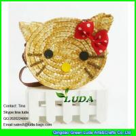 Quality LUDA 2016 fashion cute girls wheat straw hello kitty beach handbag for sale