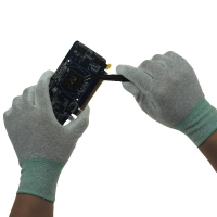 Quality White Cleanroom Antistatic Nylon ESD PU Palm Gloves for sale