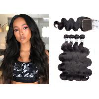 Quality Silky Body Wave Hair Extensions Human / Black Brazilian Body Wave 30 Inch for sale