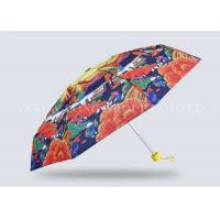 Quality Adult Nano Leak Proof 5 Fold Umbrella Exquisite Printing Pongee Fabric Cloth Material for sale