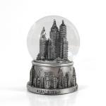 Quality Mini Silver Resin New York Snow Globe , Skyline Lady Liberty Snow Globe for sale
