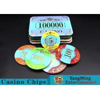 Quality Customizable Casino Poker Chips of Crown Bronzing Rectangular / Round Shape for sale
