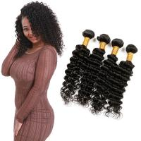 China 8A Soft Blonde Deep Wave Hair Extensions Natural Black Customized Length on sale