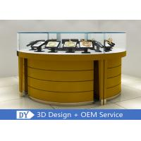 Quality Modern Wooden + Tempered Glass Jewelry Display Counter Matte Yellow for sale