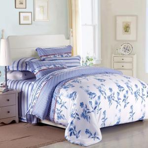 Quality Purple Colorem Broidered Flower Home Bedding Sets Tencel Duvet Cover / Sheet Set for sale