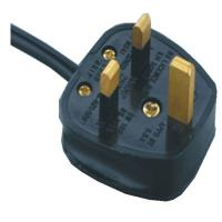 Quality UK power cord with BS rewireable fused plug for sale